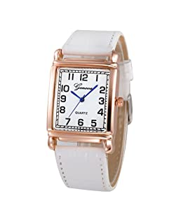 Women Quartz Watch Hosamtel Ladies Casual Faux Leather Checkers Rectangle Dial Analog Watch (White)