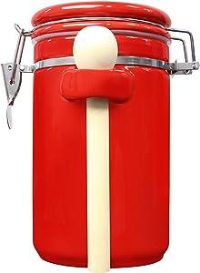 Blue Donuts 45 Oz Ceramic Airtight Jar, Ceramic Airtight Food Storage Containers, Ceramic Kitchen Canisters, 1330 ML Airtight Jar, Flour Jar with Lid, Airtight Food Storage Containers for Pantry, Red