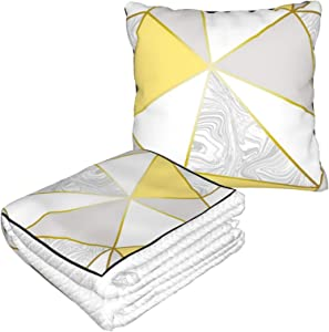 Luase Pillow Blanket Premium Velvet Soft 2 in 1 Blanket with Soft Bag Zara Marble Metallic Mustard Gold Pillowcase for Home Airplane Car Travel Movies