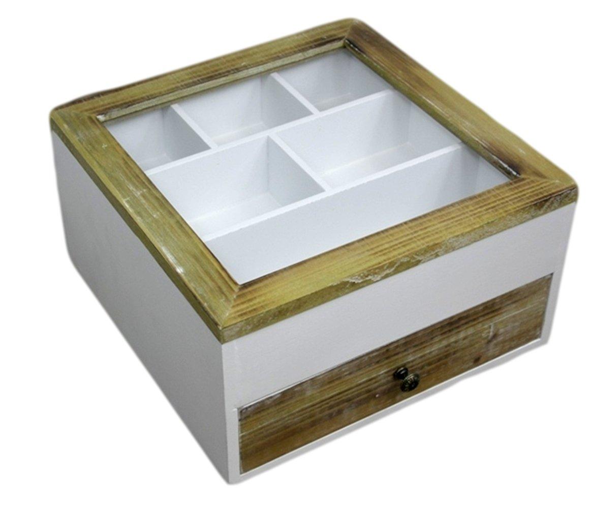 elbmöbel Besteckkasten Kiste Glasdeckel Holz weiß braun Landhaus ...