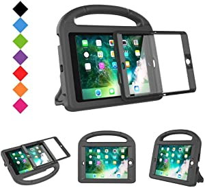 BMOUO Case for iPad Mini 1 2 3 - Built-in Screen Protector, Shockproof Lightweight Hard Cover Handle Stand Kids Case for iPad Mini 1st 2nd 3rd Generation, Black