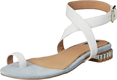 Jaggar Women's Bloom Leather Flat Fashion Sandals, Off-White