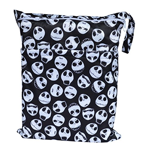 Wet Dry Bag Baby Cloth Diaper Nappy Bag Reusable with Two Zippered Pockets (Skulls)