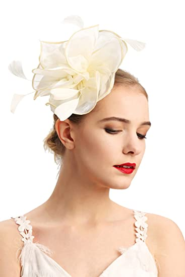 fcbabe8f42885 Cizoe Fascinators Headband for Women Tea Party Hat Kentucky Derby Wedding Flower  Mesh Feathers Hair Clip