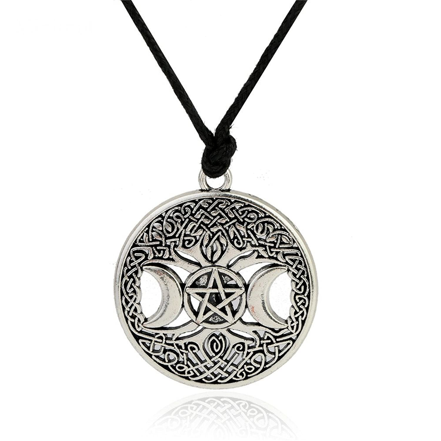 Triple Moon Goddess Necklace Pentacle Pentagram Tree Of Life Talisman Pendant Wiccan Pagan Jewelry Amulet