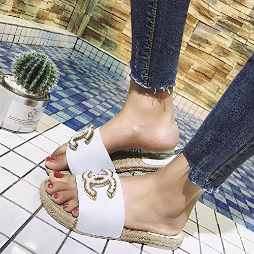 Moda Verano Mujeres De Pink 36 40 Especiales GUANG Planas Zapatos Modelos Explosión XING De Nuevas De Zapatillas Sandalias Antideslizantes White zqFpwf