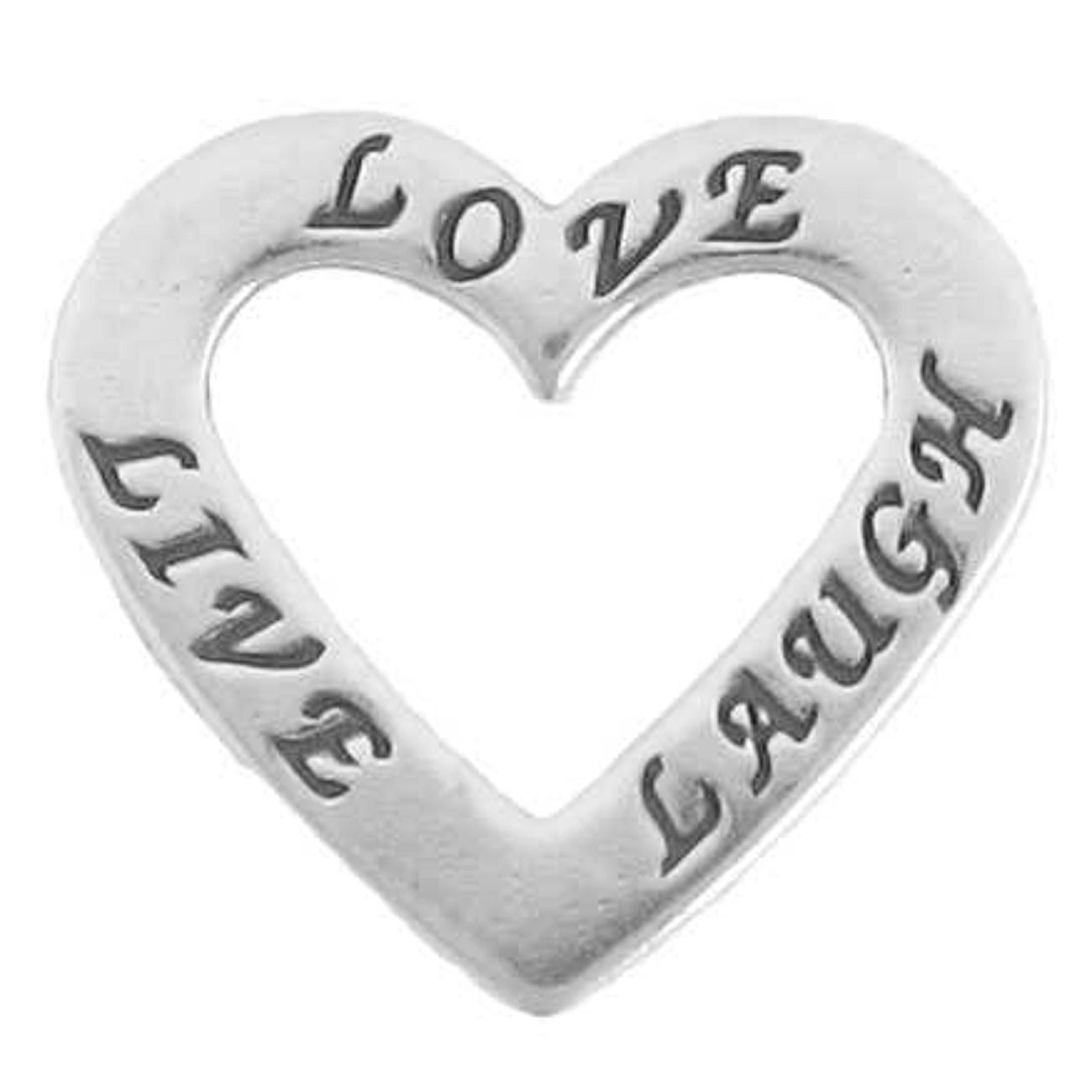 Sterling Silver 30'' Men's 1.5mm Two Sided LIVE LAUGH LOVE Heart Shaped Slide Pendant Necklace