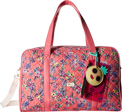 Luv Betsey Women's Cruisn Star Print Weekender With A Pass Through On the Back Pink Flower One Size