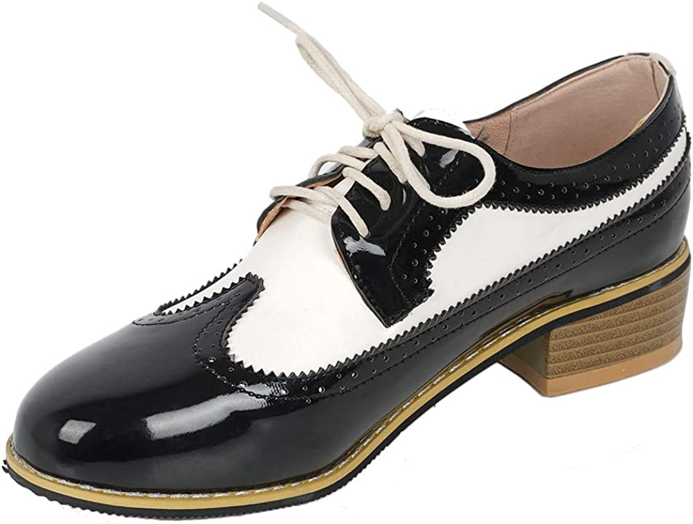 Women New Patent Leather Wingtip Block Mid Heel Lace Up Brogue Shoes Round Toe