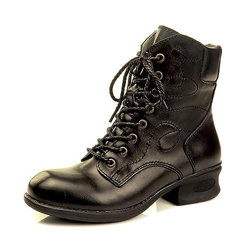 c656cb59cb393 Amazon.com | YiCharm Handmade Women's Combat Style Lace Up Ankle ...