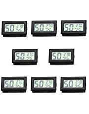 RunSnail 8-Pack Mini Digital Electronic Temperature Humidity Meters Gauge Indoor Thermometer Hygrometer LCD Display Fahrenheit (℉) for Humidors, Greenhouse, Garden, Cellar, Cars, Baby Rooms