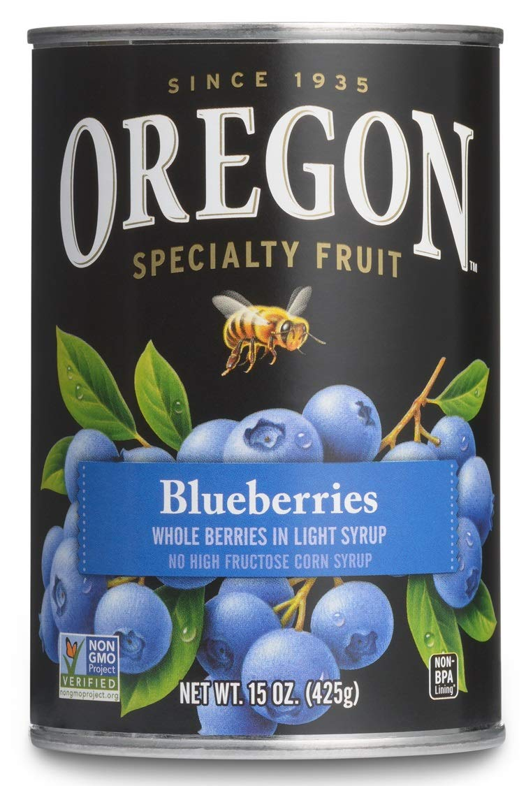 Oregon Fruit All-Natural Blueberries in Light Syrup, 15 oz. Can (2 count) (Pack of 1)