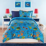 3pc Kids Full Queen Comforter Set Aquarium Themed, Ocean Blue Bedding, Full Sea Life Under Water Creatures, Sea Turtles Coral Plants Starfish Sea Horses, Colored Tropical Fish, Unisex