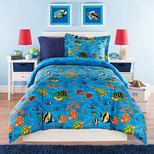 3pc Kids Full Queen Comforter Set Aquarium Themed, Ocean Blue Bedding, Full Sea Life Under Water Creatures, Sea Turtles Coral Plants Starfish Sea Horses, Colored Tropical Fish, Unisex by UNK