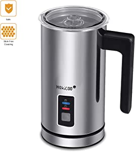 Milk Frother, HOKICOO Electric Liquid Heater with Hot Milk Functionality, Stainless Steel Electric Milk Steamer for Latte, Cappuccino, Hot Chocolate