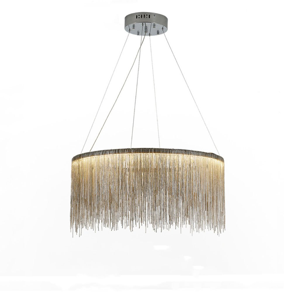 Huston Fan 20 Inch Modern Minimalist Round Creative Hanging Lamps Living Room Dining Room Bedroom LED Lights Hotel Studio Clothing Shop Personalized Tassel LED Chandelier (20 Inch, White Light)