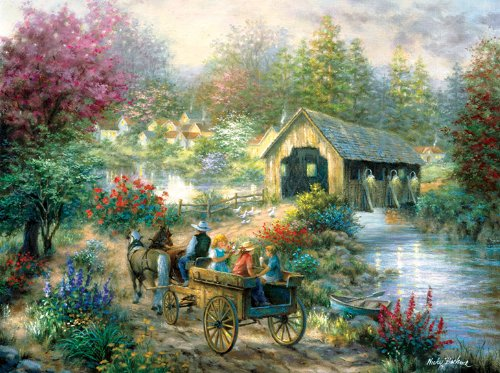 Merriment at the Covered Bridge 1000 pc Jigsaw Puzzle, Road to the Covered Bridge, Covered Bridge to Town