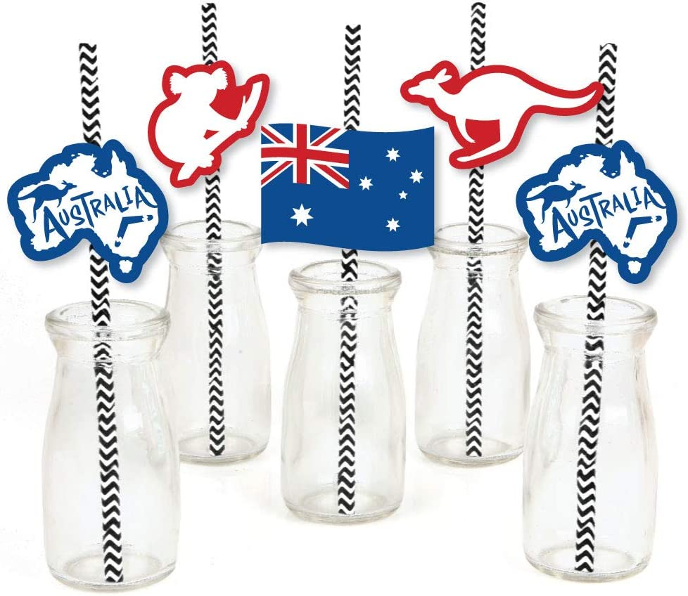 Big Dot of Happiness Australia Day - Paper Straw Decor - G'Day Mate Aussie Party Striped Decorative Straws - Set of 24