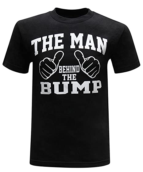 38fbaf1ea Amazon.com: The Man Behind The Bump Men's Funny Novelty T-Shirt: Clothing
