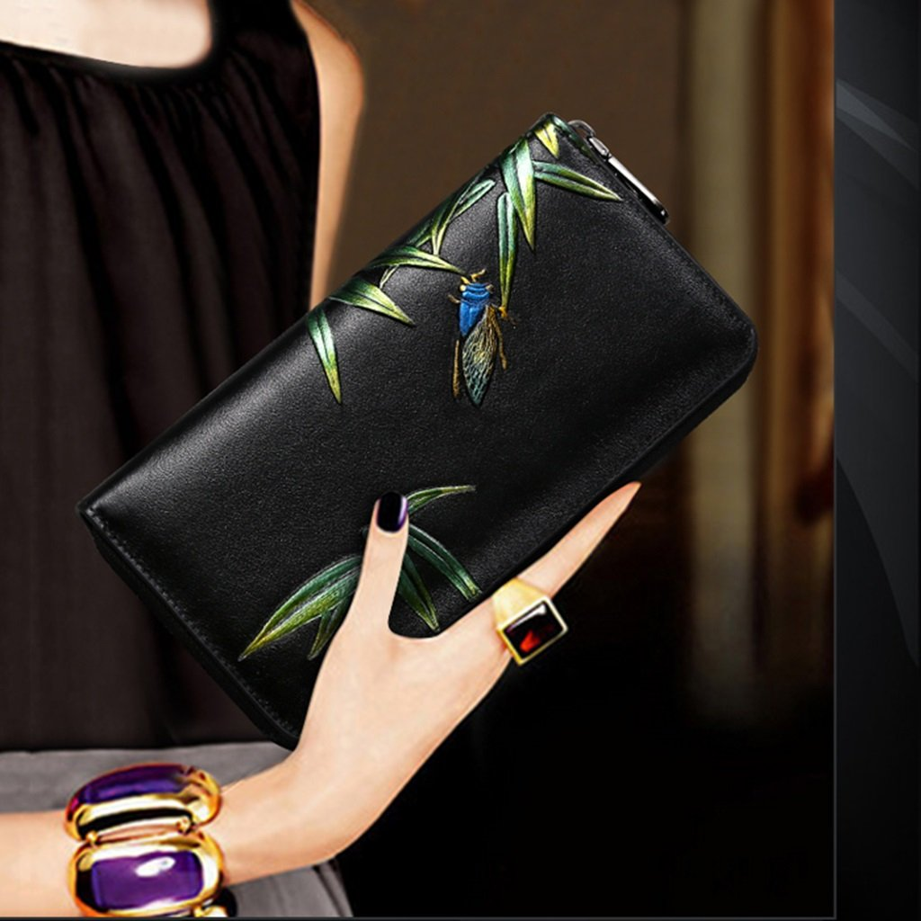 Damen Geldbörse Hand hält lange Brieftasche Persönlichkeit lange Hand Tasche Karte Tasche Multifunktions Reißverschluss Brieftasche Damen Temperament