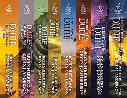Dune: Legends, Heroes, Schools: (The Butlerian Jihad, The Machine Crusade, The Battle of Corrin, Paul of Dune, The Winds of Dune, Sisterhood of Dune, Mentats of Dune, Navigators of Dune)