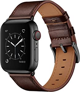 OUHENG Compatible with Apple Watch Band 42mm 44mm, Genuine Leather Band Replacement Strap Compatible with Apple Watch Series 6/5/4/3/2/1/SE 44mm 42mm, Dark Brown Band with Black Adapter