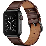 OUHENG Compatible with Apple Watch Band 42mm 44mm, Genuine Leather Band Replacement Strap Compatible with Apple Watch…
