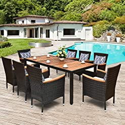 Garden and Outdoor Tangkula 9 Piece Outdoor Dining Set, Garden Patio Wicker Set w/Cushions, Patio Wicker Furniture Set with Acacia Wood… patio dining sets
