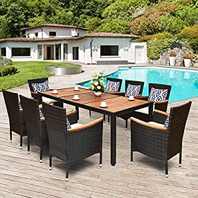 Tangkula 9 Piece Outdoor Dining Set, Garden Patio Wicker Set w/Cushions, Patio Wicker Furniture Set with Acacia Wood Table and Stackable Armrest Chairs - Quality Acacia Top Dining Table: Abandon the traditional tempered glass table top, this patio dining table top is made up of three acacia boards, which is a highly durable tropical hard wood . So, don't worry about breaking and safer than glass desktop. Besides, comes with adjustable table feet, this large dining table will work well in uneven ground. Cozy & Ergonomic High Back Chairs: This dinging chairs are made of poly rattan and sturdy steel , which are sturdy and durable for providing long time services. More, high backrest chairs with curve give you better support. Additionally, features wide acacia wood armrests that upgraded comfy. Water-proof & Soft Padded Cushions: For adding comfort, we prepare a soft padded cushion for each chair (pillows not included). This cushions are made of durable non-woven fabric with waterproof coating and thick sponge, so this cushions of patio dining set are cozy and suitable for outdoor use. Besides, the cover of cushion with smooth zipper is removable and washable. - patio-furniture, dining-sets-patio-funiture, patio - 61PfW1U5KrL. SS400  -
