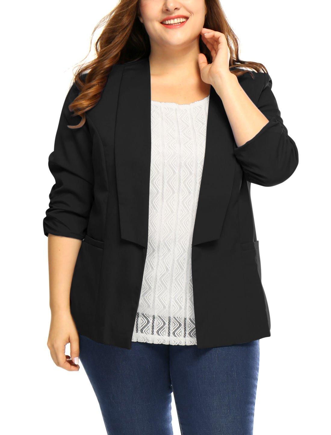 uxcell Women's Plus Size 3/4 Sleeves Turn Down Collar Blazer 1X Black