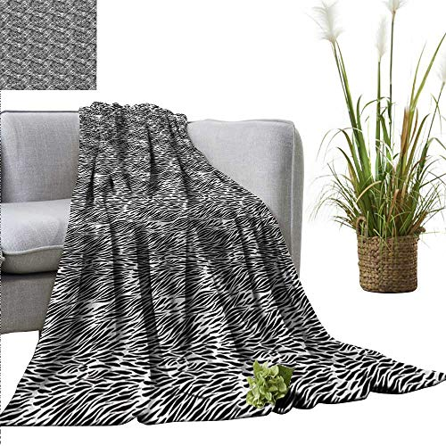 (AndyTours Faux Fur Throw Blanket Zebra Print,Black and White Hand Drawn African Animal Skin Camouflage Illustration,Black and White Reversible Soft Fabric for Couch Sofa Easy Care 35