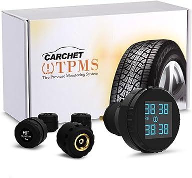 Carchet Tpms System Auto Reifendruckkontrollsystem Reifendruckmesser 4 Sensoren Im 12v Zigarettenanzünder Verstaut Einstellbarer Alarm über Reifendruck Und Reifentemperatur Auto