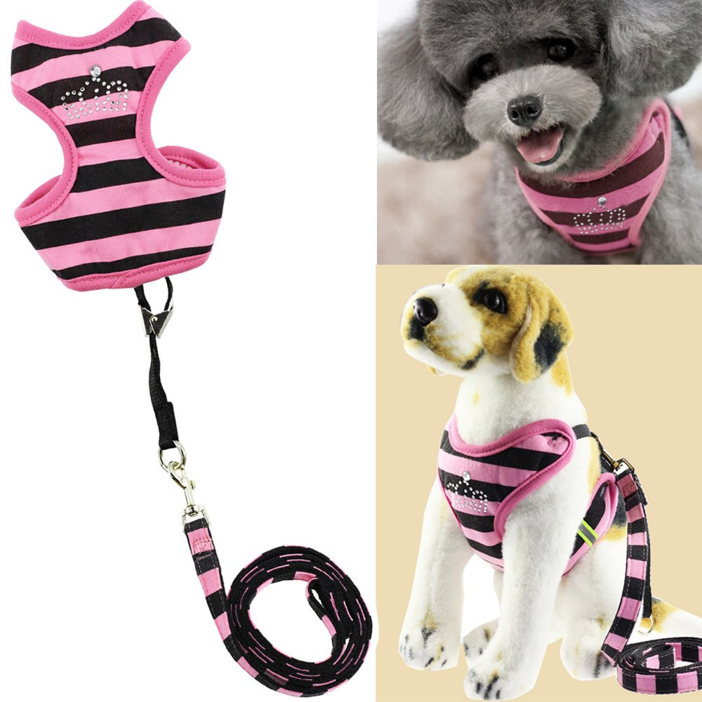 pink Red Medium pink Red Medium Bro'Bear Pet Stripes Vest Mesh Harness and Leash Set with Rhinestones for Cats & Small Dogs (pink Red, Medium)
