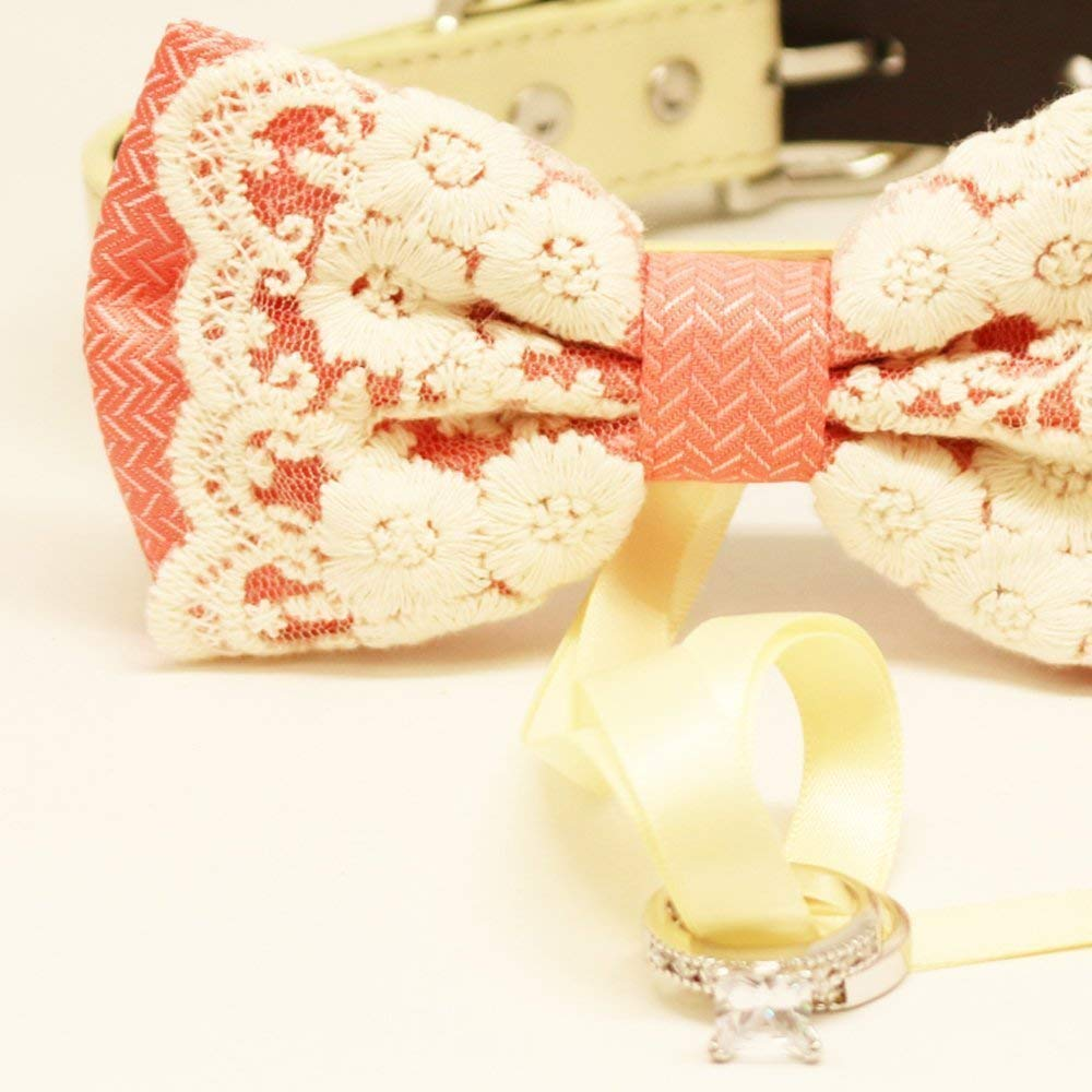 Peach Lace Dog Bow Tie collar Dog ring bearer Lace bow Dog collar Pet Wedding accessory Proposal