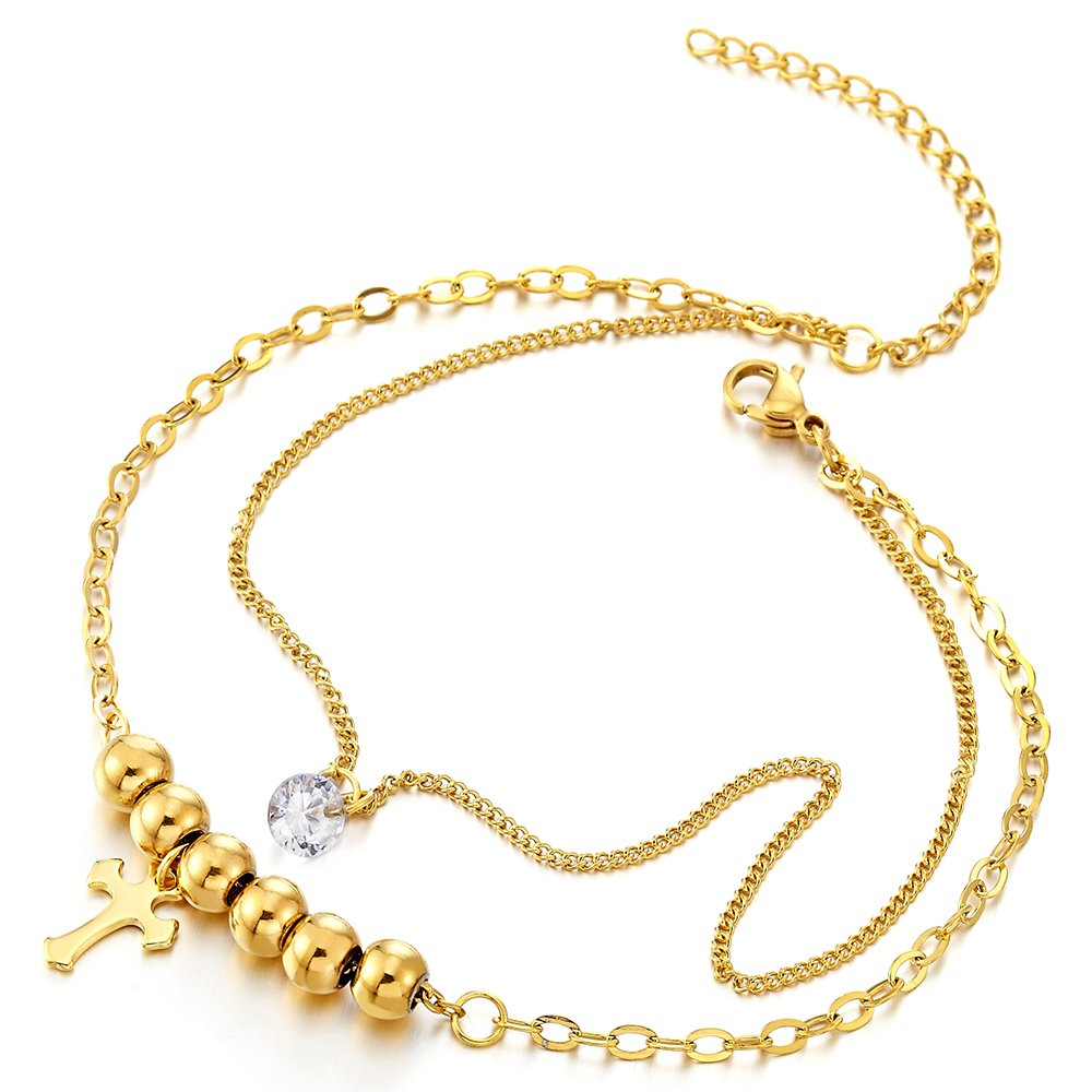 Stainless Steel Gold Color Double Chain Anklet Bracelet with Beads and Dangling Charms of Cross by COOLSTEELANDBEYOND (Image #1)