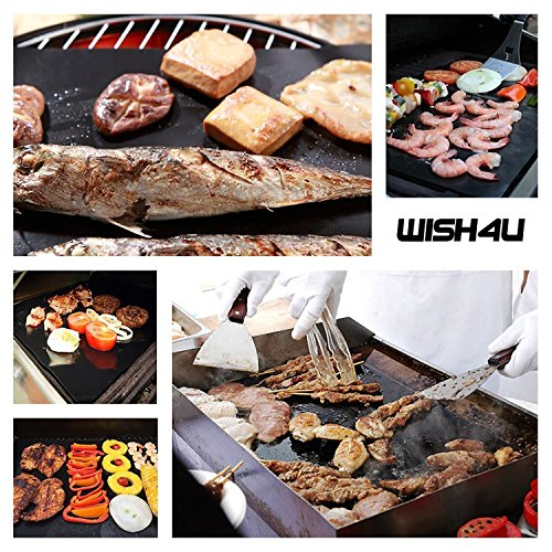 WISH4U Grill Mat Set of 3-100 Non-stick BBQ Grill Baking Mats – FDA-Approved, PFOA Free, Reusable and Easy to Clean – Works on Gas, Charcoal, Electric Grill and More – 15.75 x 13 Inch