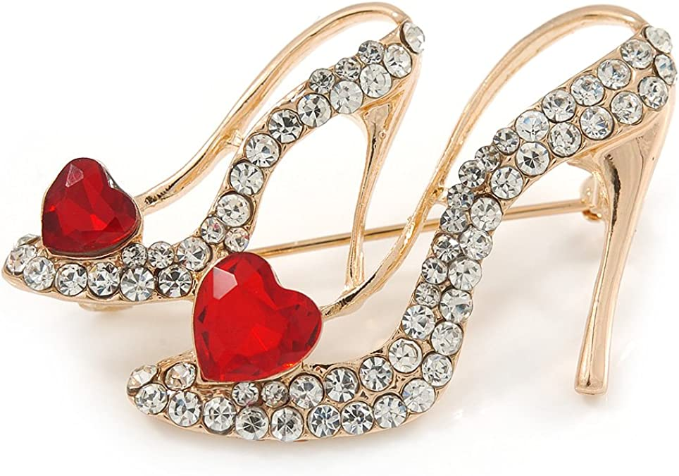 Women/'s Ladies Crystal Rhinestone High Heeled Shoes Fashion Brooch Pin 3 Color