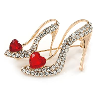 14a42416cfc Image Unavailable. Image not available for. Color: Avalaya Gold Tone Clear/Red  Crystal High Heel Shoe Brooch - 40mm