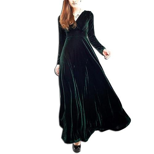 AnKoee Long Dress V-neck Long Sleeve Velvet Evening Gowns Cocktail Dresses