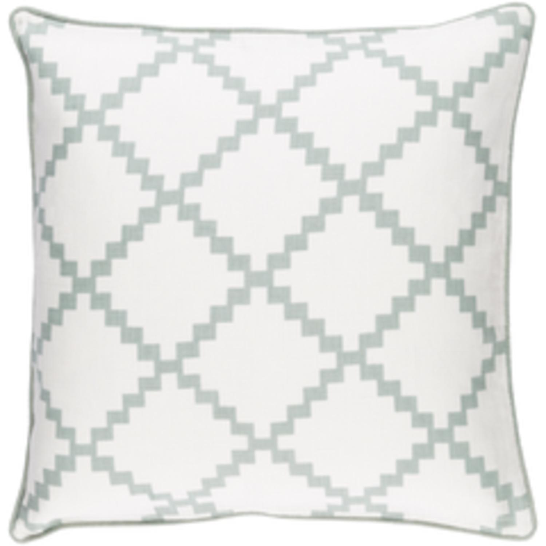 22'' Cotton White and Laurel Green Linen Decorative Throw Pillow- Down Filler