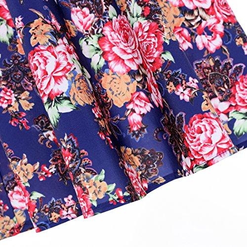 Aecibzo Les Pois Licol Années 1950 Rockabilly Vintage Femmes Cocktail Balançoire Robe Bleu Floral