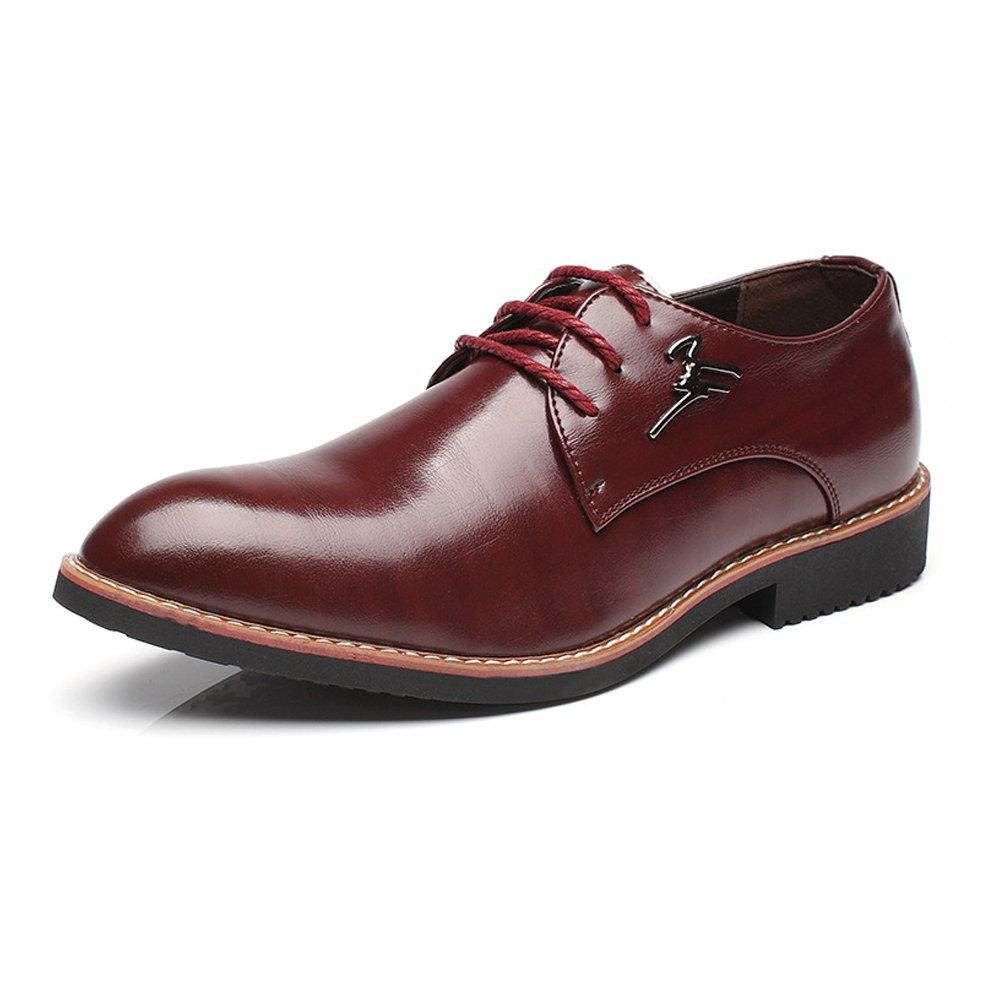 Xujw-schuhe, 2018 Schuhe herren, Formale Geschäfts-Schuhe der Männer spitze mattieren PU-Leder-obere Schnürung Breathable spitze Männer Toe Lined Oxfords (Farbe : Wine, Größe : 40 EU) Wine d05a49