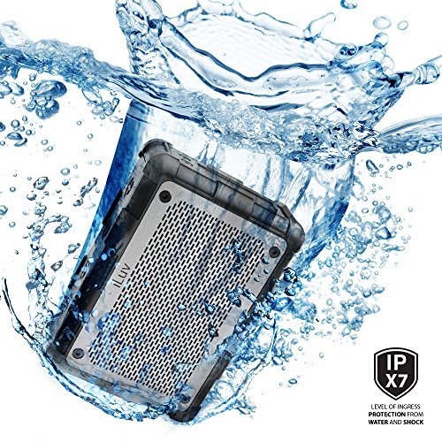 iLuv IPX7 Rated Portable Floating Waterproof Bluetooth Speaker with Ultra Powerful 2 Speakers, One Bass Booster, 8 Hour Playtime, Rugged Design, Aux-in Port, and Hands-free Function (Black)