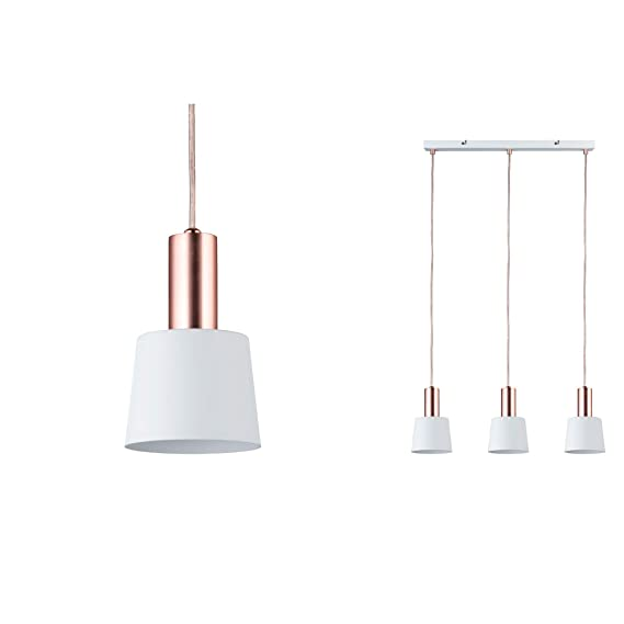 Paulmann Neordic Haldar - Lámpara colgante para lámpara de techo (230 V), color blanco y cobre mate