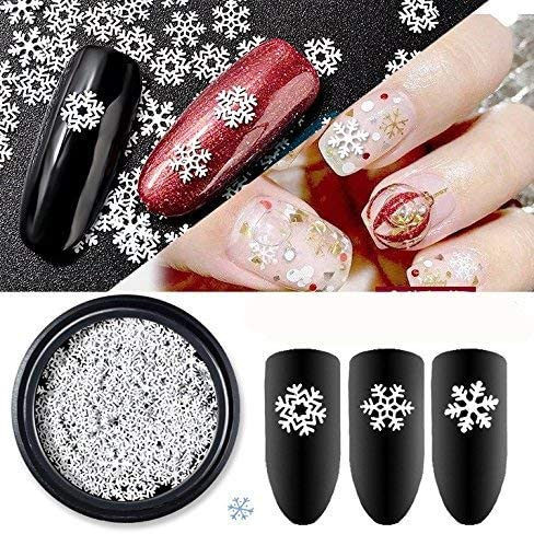 Cattie Girl 1 Box White Snow Christmas Nail Metal Decoration Reusable Nails  Studs Cattie Girl Designs Charming 3D DIY Japanese Manicure Snowflakes