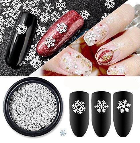 Cattie Girl 1 Box White Snow Christmas Nail Metal Decoration Reusable Nails Studs Cattie Girl Designs Charming 3D DIY Japanese Manicure Snowflakes Nail Art Accessories