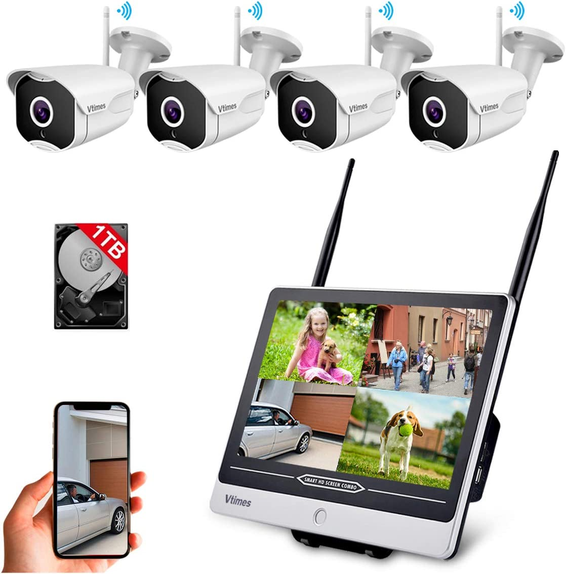 Vtimes NVR 1080P Wireless Security Camera System with 11.6 Inch LCD Monitor, All in One 4 Outdoor/Home Cameras with Night Vision, IP66 Weatherproof, Motion Detection, Remote View, 1TB Hard Drive