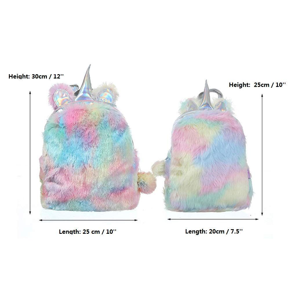 TIGOR Cute Plush Unicorn Backpack, Mini Unicorn Backpack, 3D Unicorn Backpack, Soft Rainbow Backbag Sweet Girls Daughter Gifts (Pink-12 inch)
