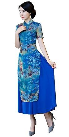 ae27da274 Shanghai Story Vietnamese ao dai Chinese Traditional Dress Long Cheongsam S  Blue