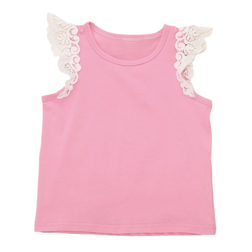 MIOIM Adorable Little Baby Girls Candy Color Lace Crochet Flying Sleeves Tops SF0148